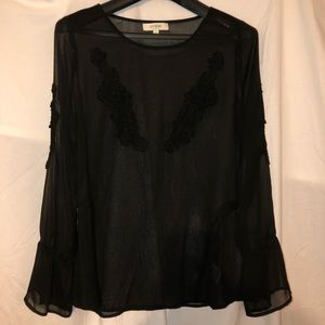BEAUTIFUL SHEER UMGEE BRAND BLACK BLOUSE